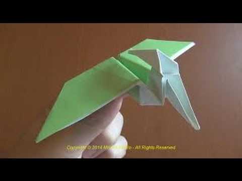 Origami dinosaur - How to make a paper dinosaur/ Origami Pterodactyl