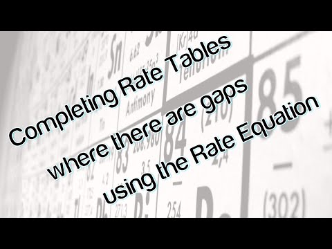 Completing rate tables where there are gaps using rate equation