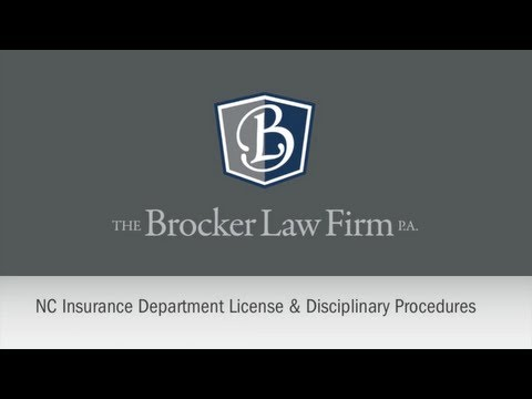 NC Insurance Department License & Disciplinary Procedures