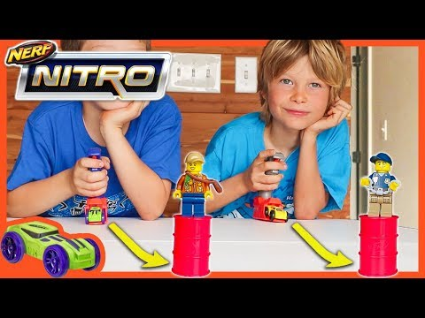 NERF NiTRO CARS Vs  LEGO MiNiFiGURES
