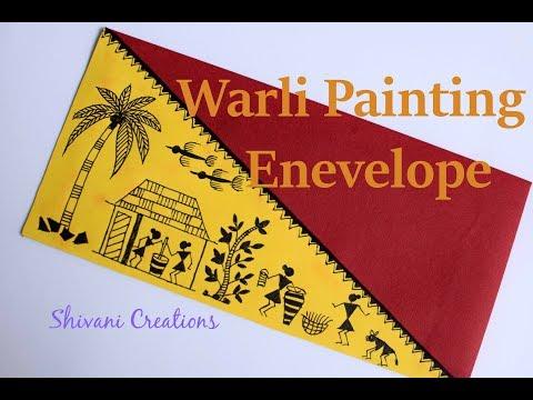 Warli Painting Envelope/ Indian folk Art/ Village Painting