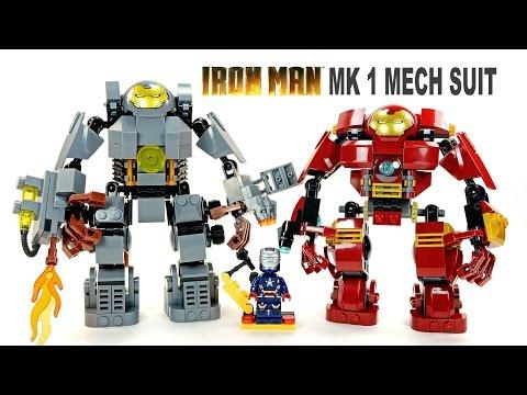 LEGO Iron Man MK1 vs Hulkbuster KnockOff Mech Suit Set w/ Iron Patriot