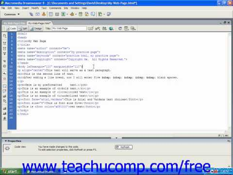 HTML Tutorial Changing Font Color for the Entire Page Training Lesson 4.8