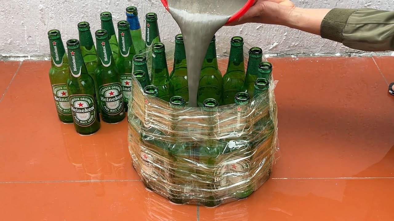 Amazing Idea . Make Coffee Table And Chairs  From Glass Bottle  , Old Tire And Cement .Very Easy .