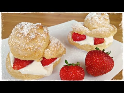 How to make CREAM PUFFS with CREAM CHEESE FILLING and STRAWBERRIES