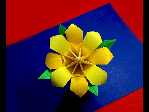 Origami bouquet. Easy origami flower. Ideas for Christmas decoration