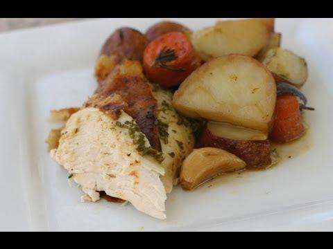 Juicy Roast Chicken Recipe With Potatoes, Wine, Onion, Rosemary by Rockin Robin