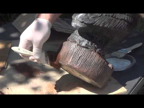 How to make concrete statuary - Detail painting a pelican statue part 1