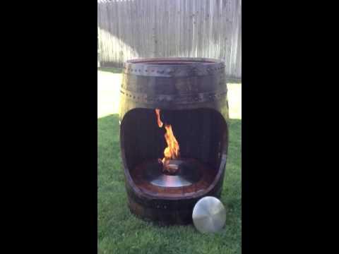 Fire Pit in Oak barrel