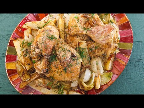 Cast-Iron Skillet Chicken with Fennel, Potato, Onion and Roasted Garlic