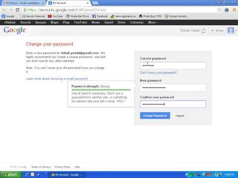 HOW TO CHANGE YOUR GMAIL PASSWORD (2013) Quick N Easy!! :)