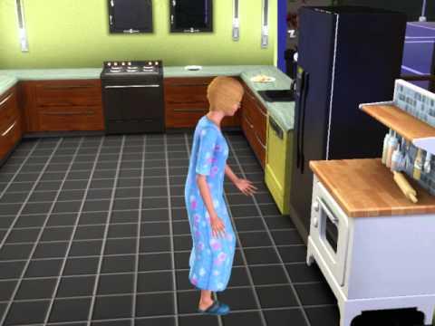 My sim baking a birthday cake
