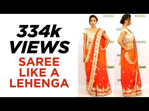 How to wear Lehenga Style Saree - Saree Draping Steps