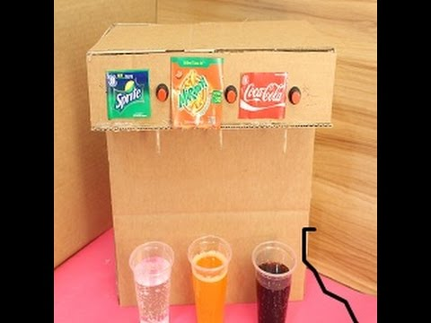 How to Make Coca Cola Soda Fountain Vending Machine with 3 Different Drinks at Home    01