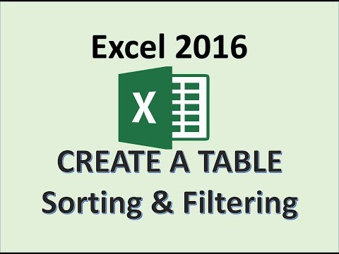 Excel 2016 - Tables - Creating, Sorting, Filtering - How To Create, Sort, and Filter a Table in MS