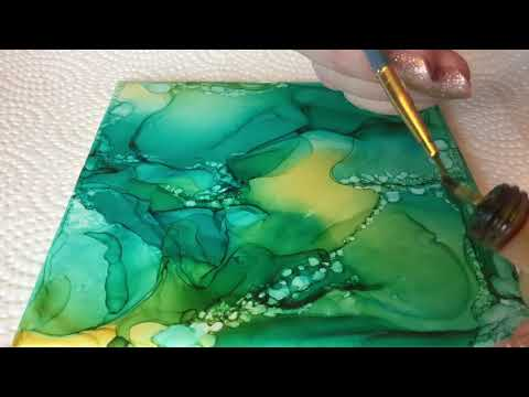 Alcohol ink on tile  Adding texture.