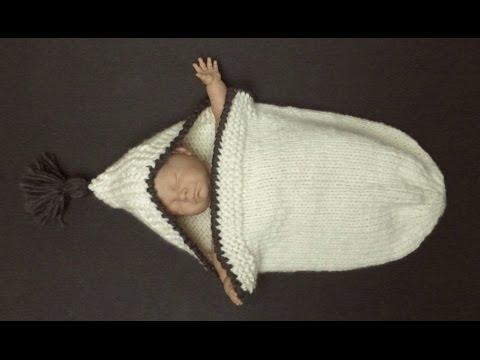 COZY & ROOMY Knitted Sleeping Bag For A Newborn Baby (4 Advanced Beginner)