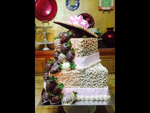 Dipped Strawberry Box Cake / Cake Decorating