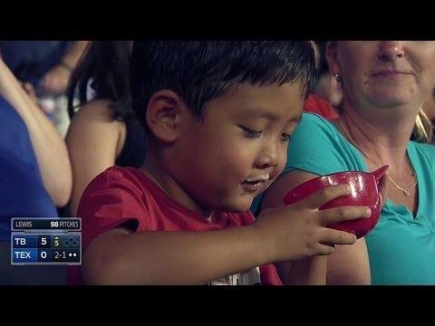 Kid works on his bottomless ice cream