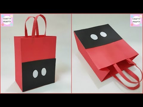 How to make Paper Bag / DIY Mickey mouse Paper Bag/ DIY Paper bag for treat/DIY Goodie Bag/Candy bag