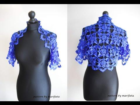 How to crochet blue shrug bolero free pattern tutorial by marifu6a