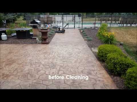 Stamped concrete cleaning and sealing - Rendall's Cleaning