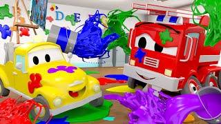 Die kleinen Autos in Car City -  Die Farbenschlacht - Lastwagen Zeichentrickfilme für Kinder 🚓 🚒