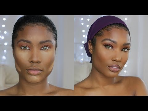 Dark skin natural GRWM  - styling my relaxed 4C hair with headscarf