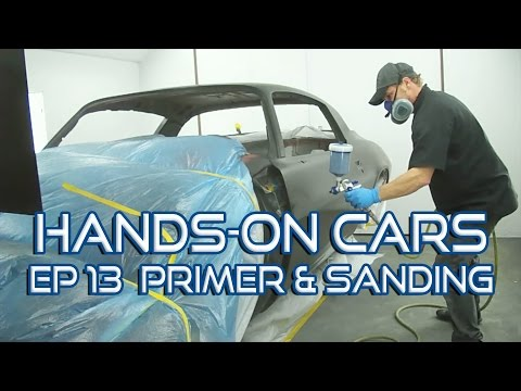 How To Spray Urethane Primer Surfacer & Sand Panels Straight on Hands-On Cars 13 - Eastwood