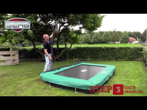 11ft x 7ft BERG InGround Eazyfit Rectangular Trampoline with Deluxe Enclosure