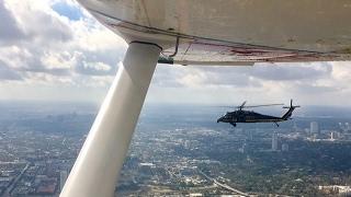 Watch as a Black Hawk intercepts a Civil Air Patrol Cessna 182