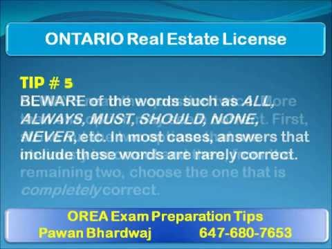 Tips For Ontario Real Estate License OREA Multiple Choice Exams