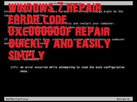 windows 7 repair error code 0xc000000f repair quickly and easily simply just look at the video