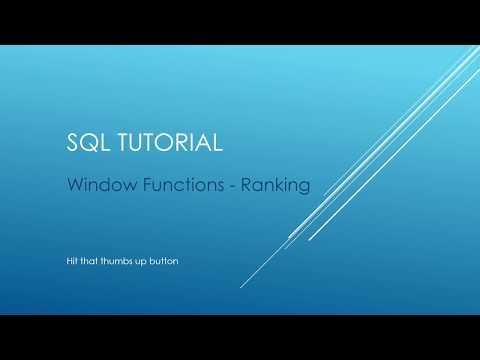 SQL Tutorial - Window Functions - Ranking