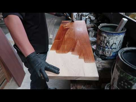 Staining stair tread.
