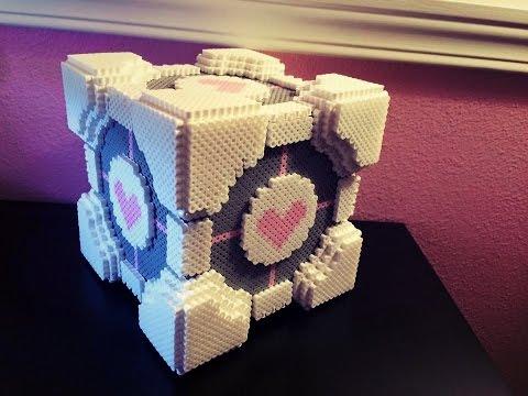 3D Perler Bead Companion Cube Tutorial- A David Nilsson design!