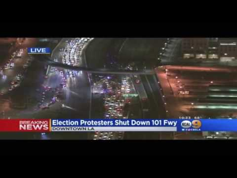 Election protestors shut down 101 Freeway in LA