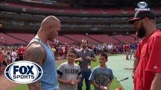WWE Superstar Randy Orton visits Cardinals batting practice