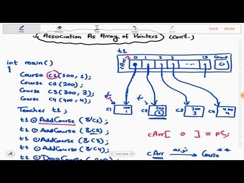 4 - 8 | OOP | Association as Automatic Array of Pointers - Part 2 | C++ Classes (Arabic بالعربي)
