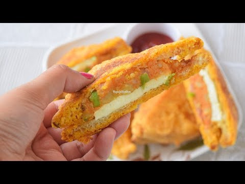 Bread Paneer Pakora - Street Food Snack Recipe - Priya R - Magic of Indian Rasoi