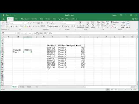 How to Look up Data Using MATCH and INDEX functions in Excel 2016