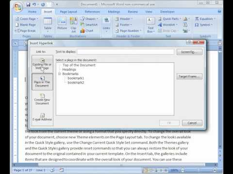 Word 2007 Tutorial 13: Bookmarks, Hyperlinks and References