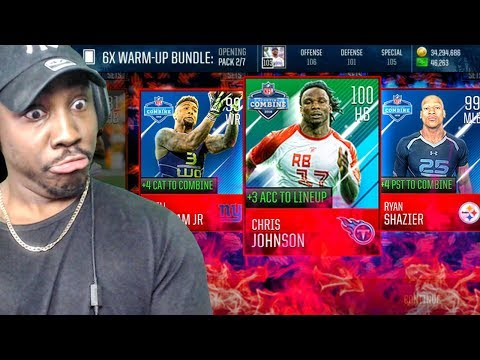 NEW COMBINE PACK OPENING w/100 OVR MASTER CHRIS JOHNSON! Madden Mobile 18 Gameplay Ep. 35