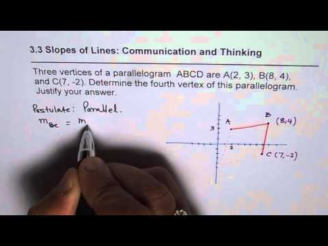 Given Three Vertices of a Parallelogram Find the Fourth Using Slopes of Parallel Lines