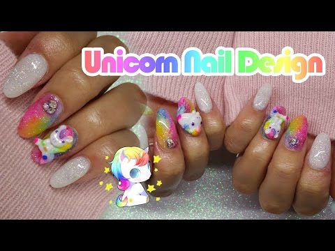 Acrylic Nails | Unicorn nail Design | Rainbow Nails