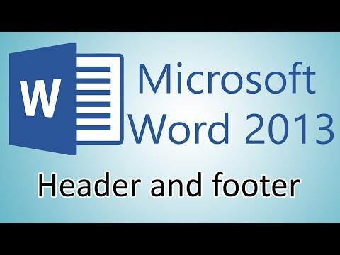 Microsoft Word 2013 Tutorials - Headers and Footers