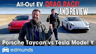 Drag Race! Tesla Model Y vs. Porsche Taycan | Reviewing & Racing Performance EVs | 0-60 Performance