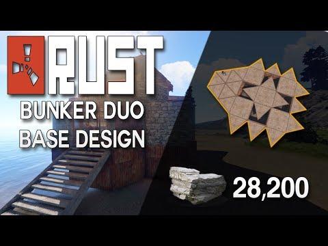 SIMPLE BUNKER BASE!  Rust Duo Base Design - Rust Base Building (28k Stone, 16k Metal)