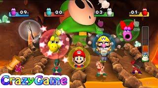 Mario Party 9 Magma Mine Boss Battle 4 Players (Mario vs Shy Guy vs