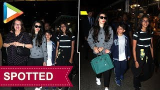 SPOTTED: KARISHMA with her mother BABITA & CUTTIE SAMAIRA AND KIAAN at AIRPORT